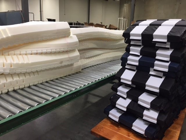 Air/foam cells and mattress cores ready to be assembled into an Alpha Tekniko alternating pressure design.