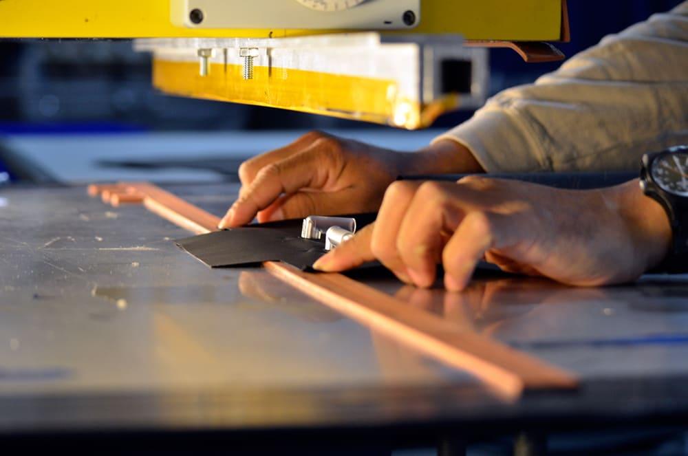 RF welding creates sealed, fluidproof seams in Alpha Tekniko healthcare surface designs.